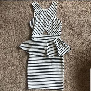 NEW Charlotte Russe Peplum Dress, Black and White